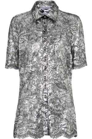 Paco Rabanne Kvinder Kortærmede - Metallic floral-lace blouse