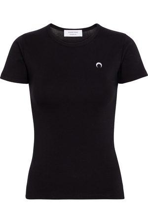 Marine Serre Kvinder Kortærmede - Embroidered cotton T-shirt