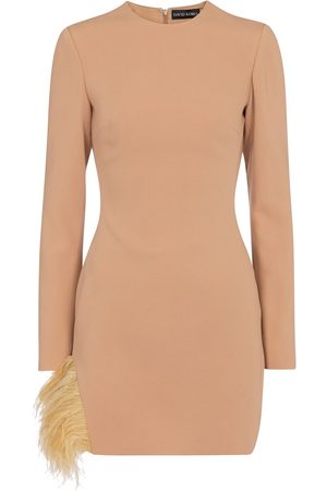 DAVID KOMA Exclusive to Mytheresa – Feather-trimmed cady minidress