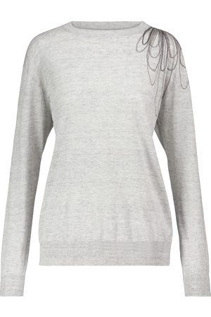Brunello Cucinelli Kvinder Strik - Embellished linen and cotton sweater