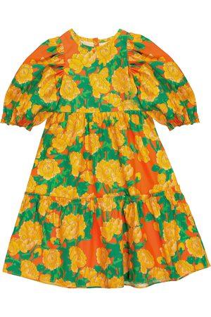 Mini Rodini Peonies cotton-poplin dress