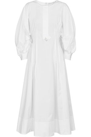 Oscar de la Renta Embellished stretch-cotton midi dress