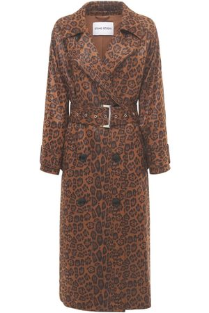 STAND STUDIO Shelby Printed Faux Leather Trench Coat