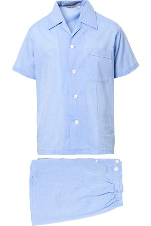 DEREK ROSE Mænd Pyjamas - Shortie Cotton Pyjama Set Blue