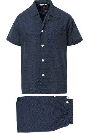 DEREK ROSE Mænd Pyjamas - Shortie Polka Dot Cotton Pyjama Set Navy