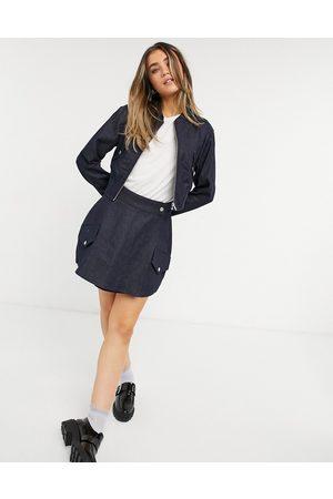 Topshop Bomber-jakke i indigoblå denim - Del af sæt