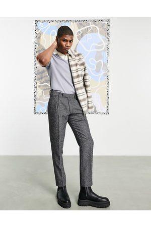 ASOS DESIGN Smalle bukser i uldblanding med detalje bagpå i herringbone