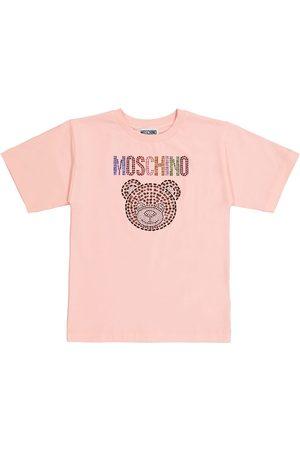 Moschino Kids Embellished stretch-cotton T-shirt