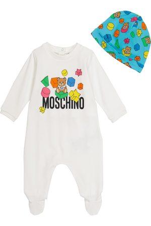 Moschino Kids Baby stretch-cotton onesie and hat set