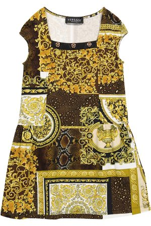 Versace Kids Piger Kjoler - Barocco Patchwork stretch-cotton dress