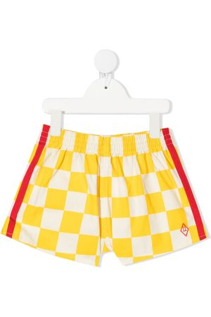 The Animals Observatory Check-print stripe-detail shorts