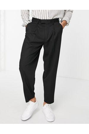 ASOS Mænd Chinos - Sorte oversized elegante bukser i tapered pasform