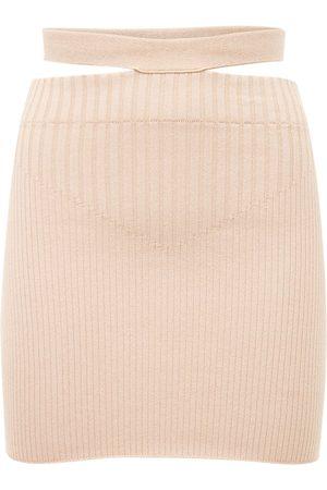 ANDREA ADAMO Viscose Blend Rib Knit Cutout Mini Skirt