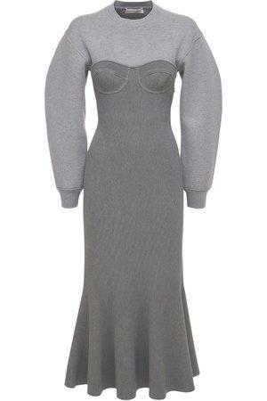 Alexander McQueen Stretch Wool Knit Bustier Midi Dress