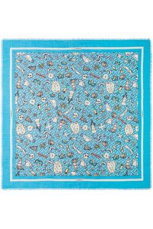 Burberry Tørklæder - Montage-print silk-wool blend scarf