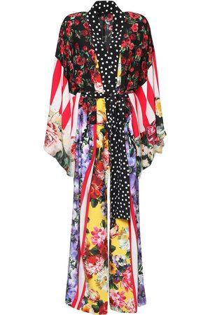 DOLCE & GABBANA Kvinder Kimonos - Patchwork Silk Crepe De Chine Caftan