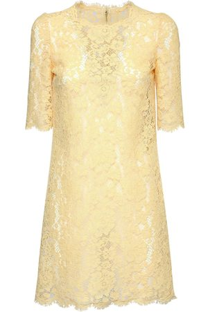 Dolce & Gabbana Cotton & Viscose Lace Effect Mini Dress