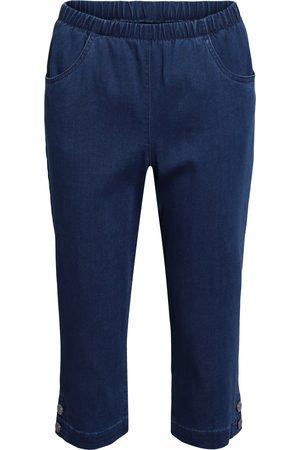 Brandtex Kvinder Trekvartbukser - Capri-bukser med elastik i linningen - Denim - 38