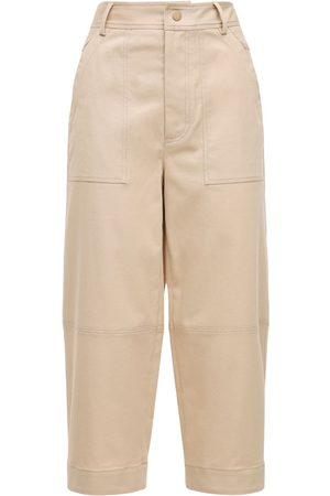 Moncler Cropped Cotton Gabardine Wide Leg Pants