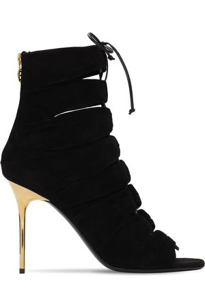 Balmain Kvinder Ankelstøvler - 95mm Scarlet Suede Lace-up Ankle Boots