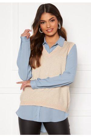 Object Kvinder Strik - Thess S/L Knit Waistcoat Sandshell L