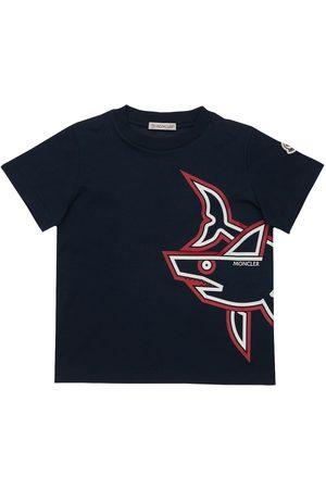 Moncler Drenge Kortærmede - Shark Print Cotton Jersey T-shirt