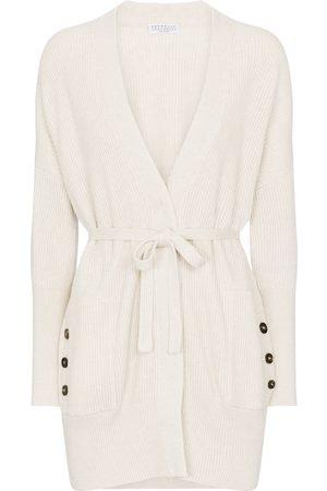 Brunello Cucinelli Kvinder Cardigans - Belted ribbed-knit cotton cardigan
