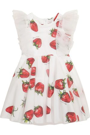 MONNALISA Printed cotton and tulle dress