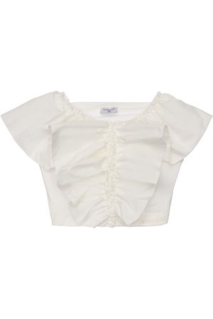 MONNALISA Ruffled Cotton Poplin Crop Top