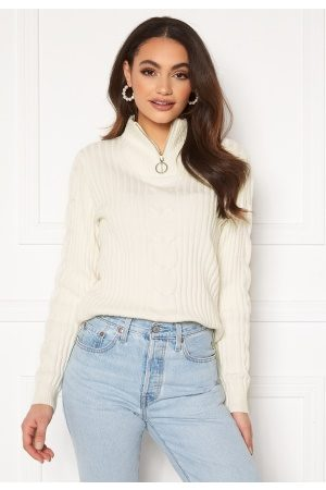 Vila Kvinder Strik - Ril Knit Funnel Zip Neck L/S Top White Alyssum M