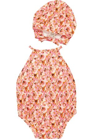 Caramel Baby Crab cotton bodysuit and hat set