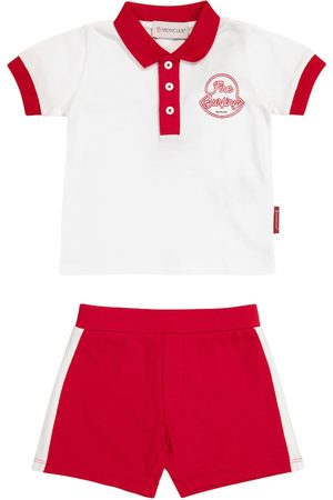 Moncler Baby stretch-cotton Polo shirt and shorts set