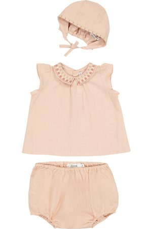 BONPOINT Baby cotton top, bloomers and hat set