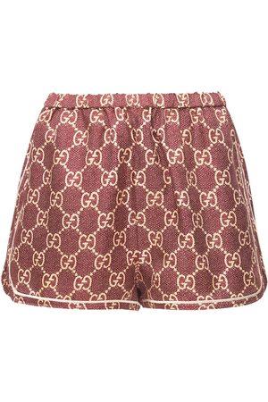Gucci Kvinder Shorts - Logo Printed Silk Twill Shorts