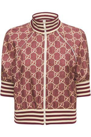 Gucci Kvinder Sweatshirts - Logo Printed Silk Twill Zip Jacket
