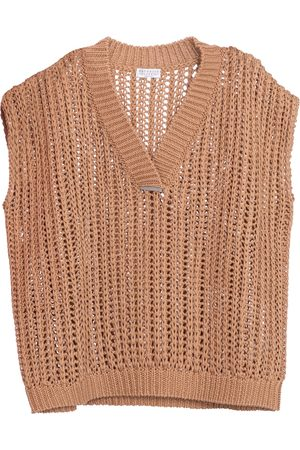 Brunello Cucinelli Kvinder Strik - Embellished cotton sweater vest