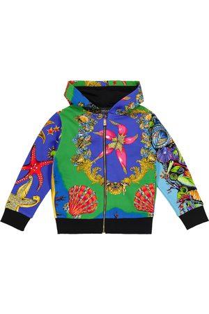 VERSACE Drenge Sweatshirts - Printed cotton jersey hoodie