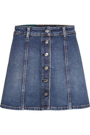 Self Cinema Womens Denim Skirt Embroidered Kort Nederdel