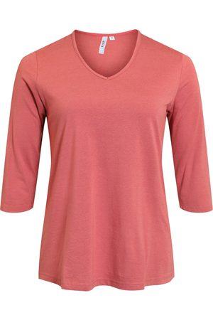 Ciso Kvinder Langærmede - Basis T-shirt i A-facon med 3/4 ærmer - Cranberry - M