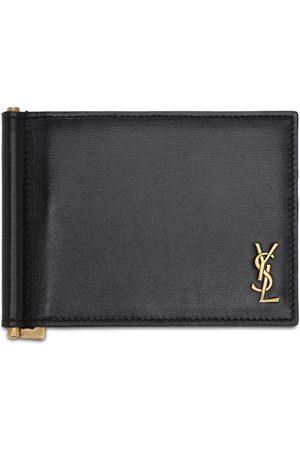Saint Laurent Tiny Monogram Leather Bill Clip Wallet