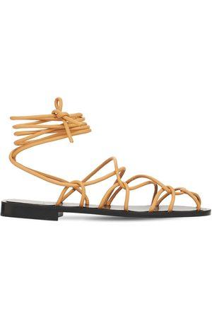 Khaite 10mm Lyon Leather Lace-up Sandals