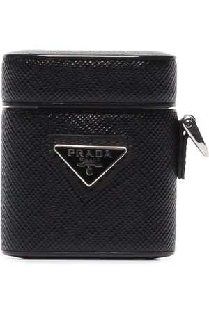 Prada Triangle-logo leather AirPods case
