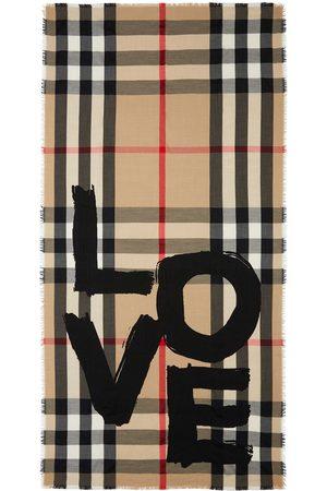 Burberry Tørklæder - Vintage-ternet tørklæde med love-tryk
