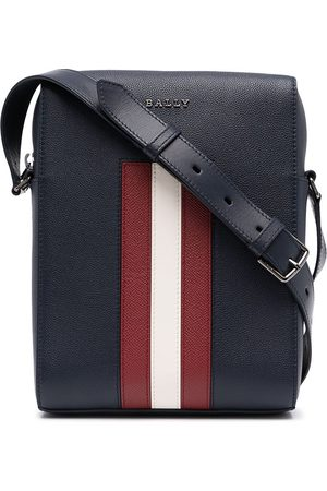 Bally Messenger-taske i nopret læder og striber