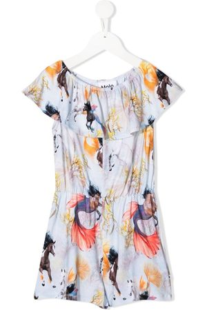 Molo Kids Playsuit med Horses of the Sea-tryk