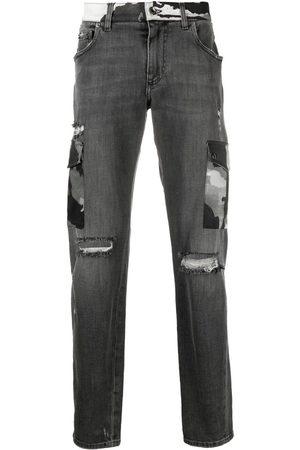Dolce & Gabbana Ribbede bootcut-jeans med kamuflagedetalje