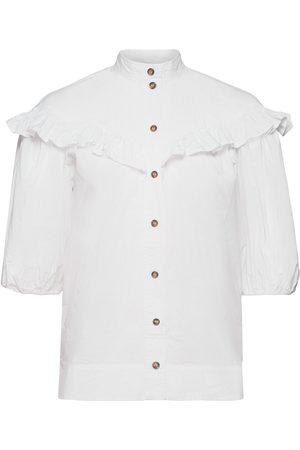 Ganni Frill Shirt Kortærmet Skjorte