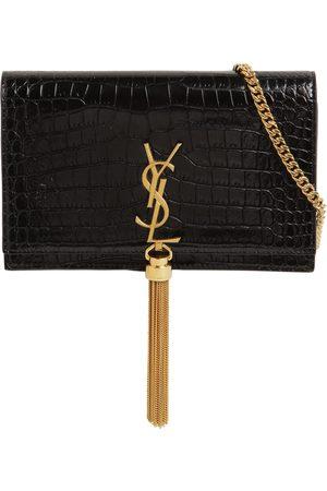 Saint Laurent Kvinder Punge - Kate Croc Embossed Leather Chain Wallet