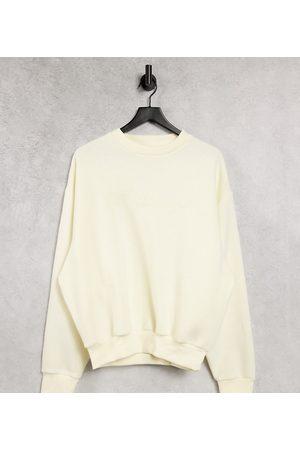 COLLUSION Unisex - Ecrufarvet sweatshirt med broderet logo - Del af sæt-Hvid