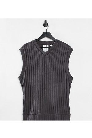 COLLUSION Unisex oversized vest i strikket jersey i koksgrå - Del af sæt